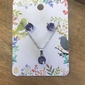 Tanzanite/silver necklace and earring set